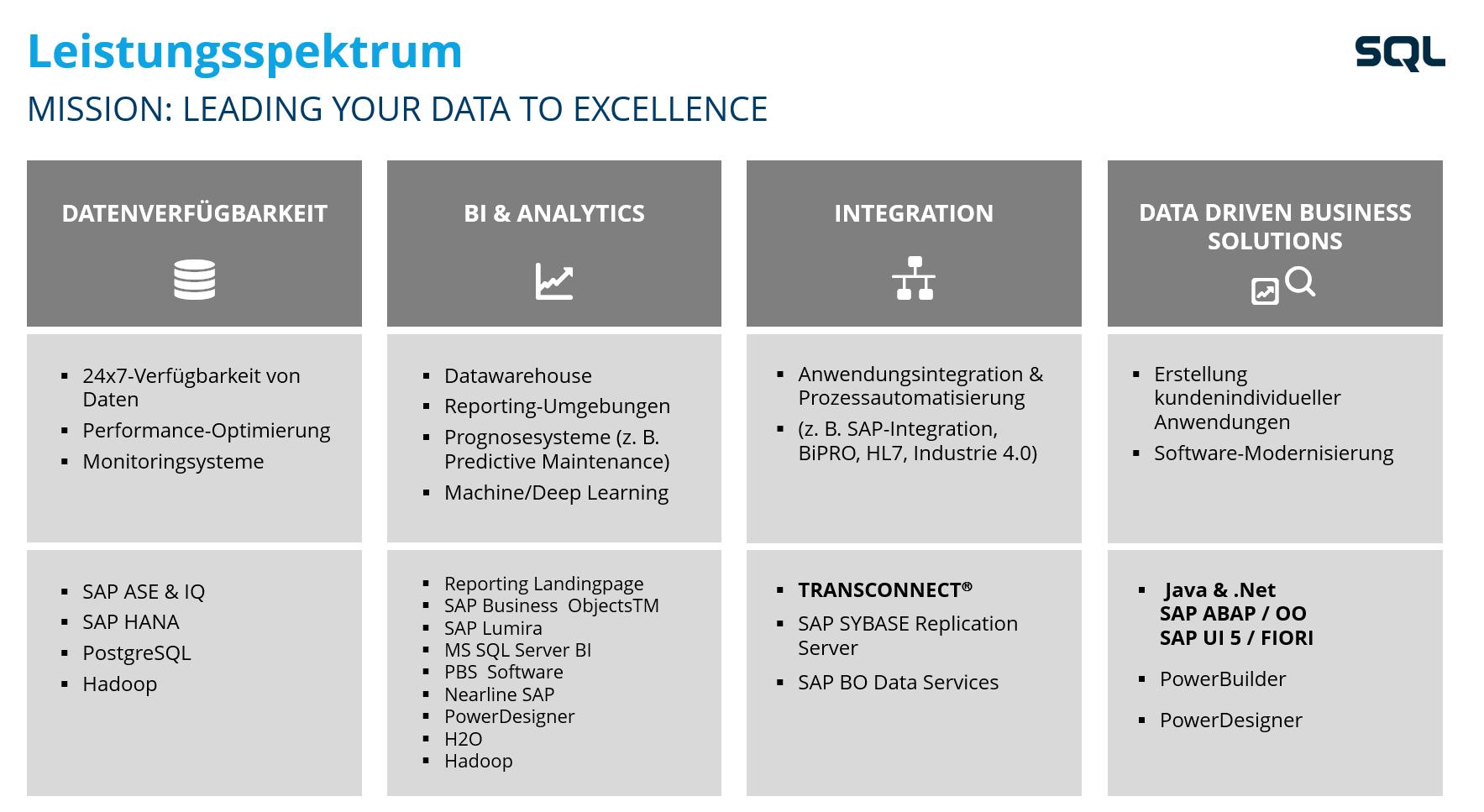 Leistungsspektrum - SQL Projekt AG